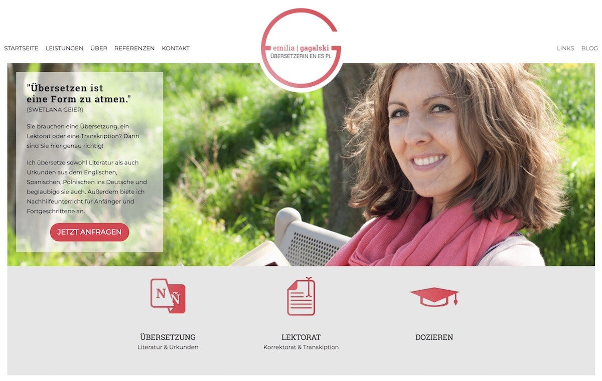 Webdesign für die Lektorin und Übersetzering Emilia Gagalski